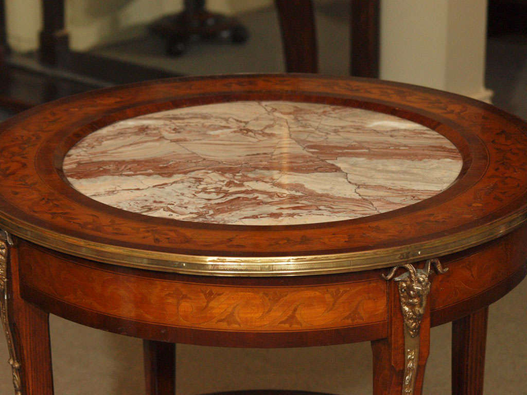 Antique Inlaid Marble Table : Antique french inlaid walnut gueridon table with marble