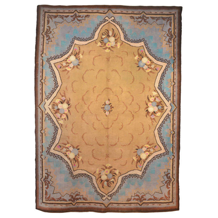 French Art Nouveau Savonnerie Wool Rug 1910's