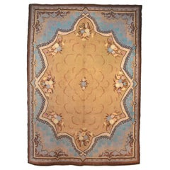 Antique French Art Nouveau Savonnerie Wool Rug 1910's
