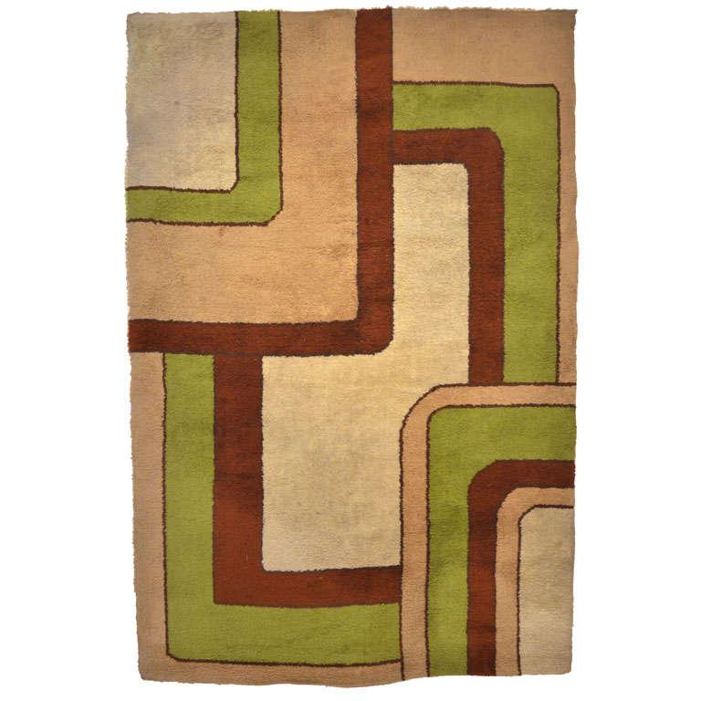 Vintage Scandinavian Mid-Century Modern Rya Rug With Geometric Design