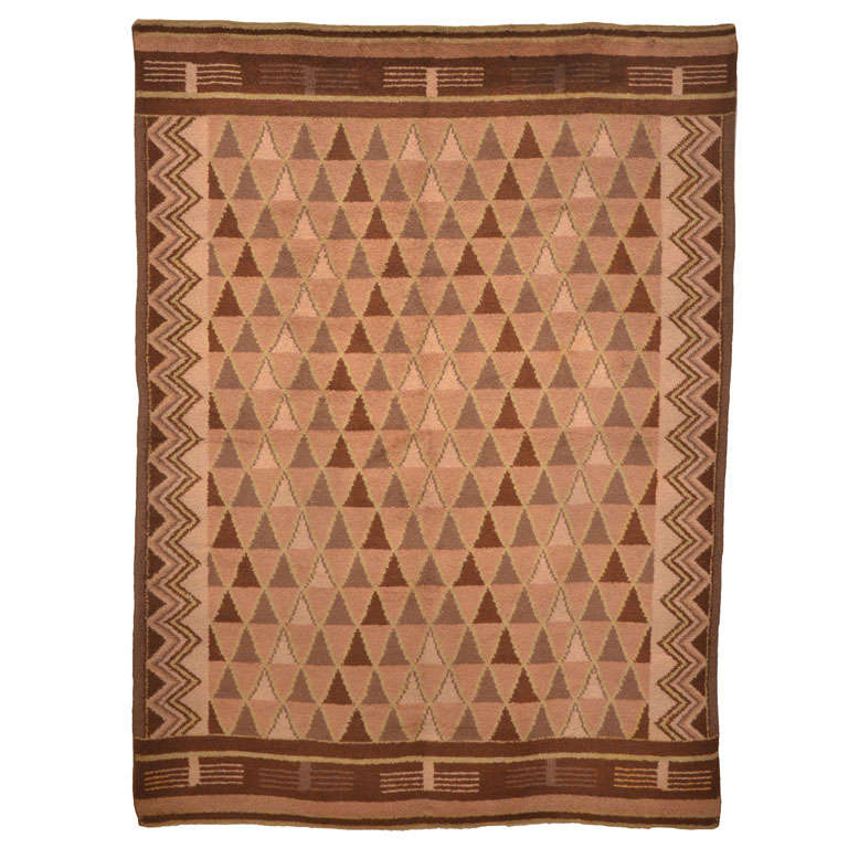 French Art Deco Geometric Wool Rug Circa 1930