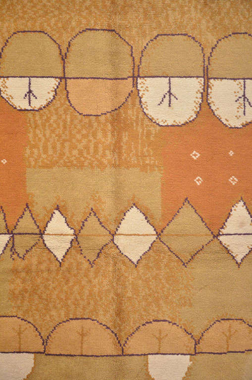 Hand-Knotted French Mid-Century Modern Wool Rug For Sale