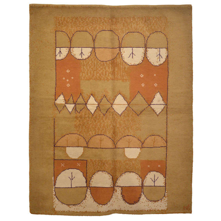 French Mid-Century Modern Wool Rug For Sale