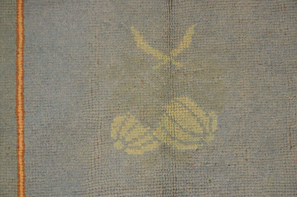 Irish Arts & Crafts Donegal Light Blue Wool Rug Attributed to Gavin Morton, circa 1910 For Sale