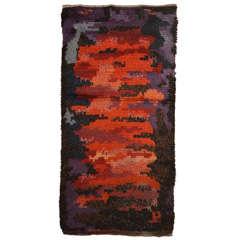 Scandinavian Rya Abstract Design Wool Rug Circa 1950