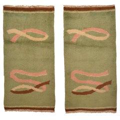 Pair of Antique Light Green Wool Art Deco Rugs Circa 1930