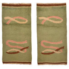 Pair of North African Light Green Wool Art Deco Rugs Circa 1930