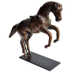 Early 20th Century Leather Leaping Horse