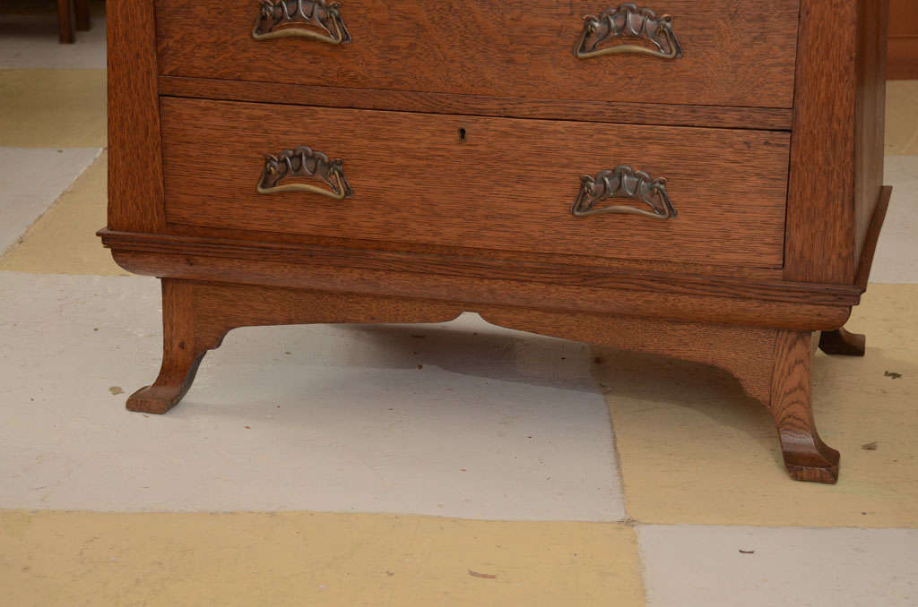 British Scottish Art Nouveau Chest With Pagoda Style Dressing Mirror For Sale