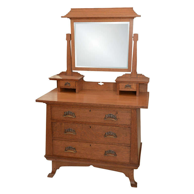 Scottish Art Nouveau Chest With Pagoda Style Dressing Mirror For Sale