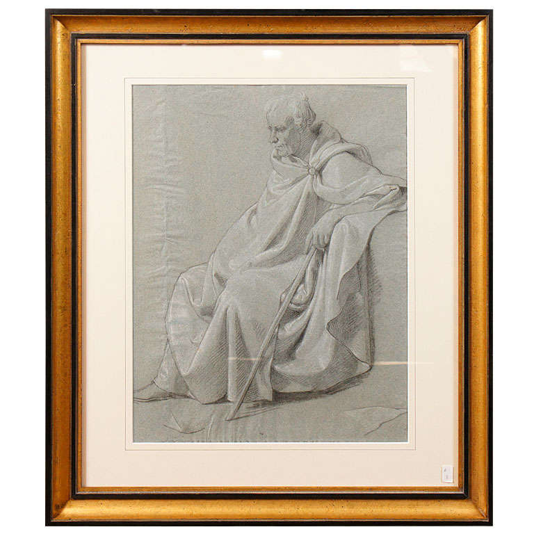 Napoleonic Period Drawing of a Classical Figure For Sale