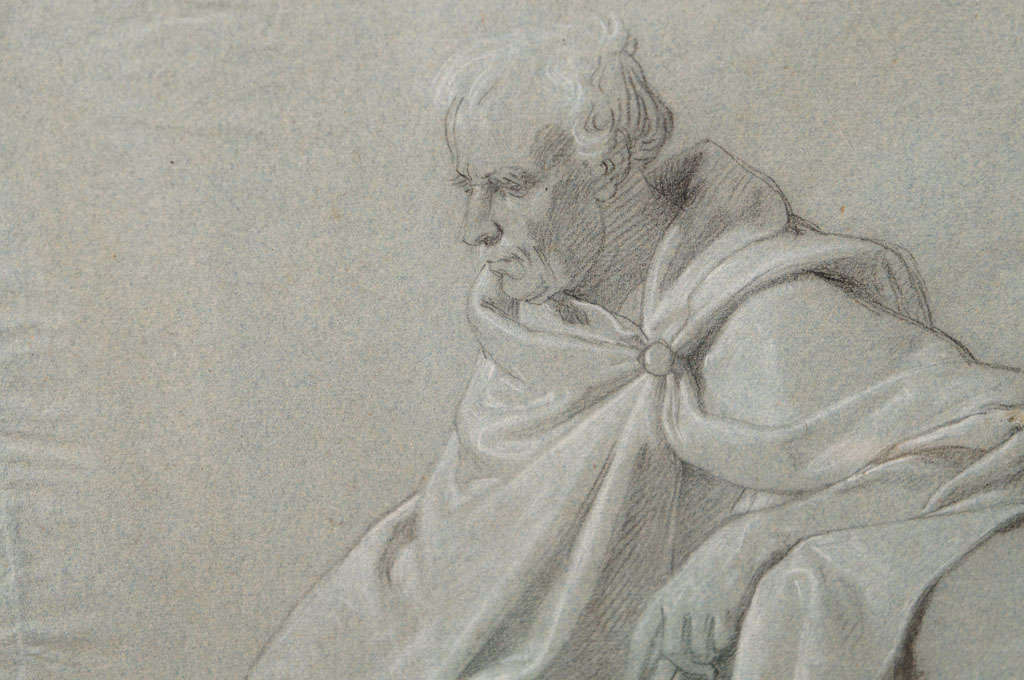 Napoleonic Period Drawing of a Classical Figure In Good Condition For Sale In Hudson, NY