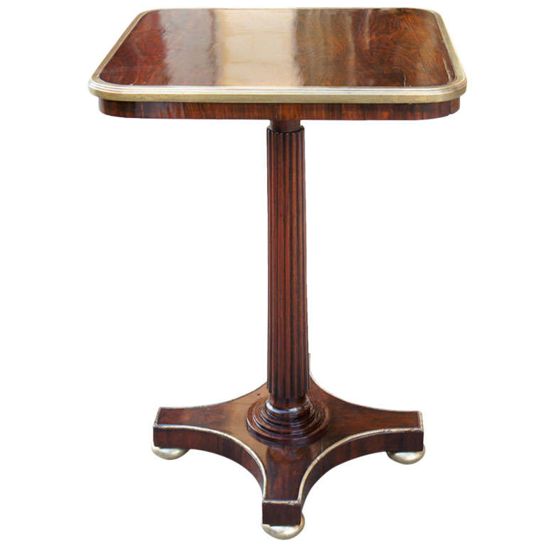 A Period Regency Rosewood and Brass Occasional Table