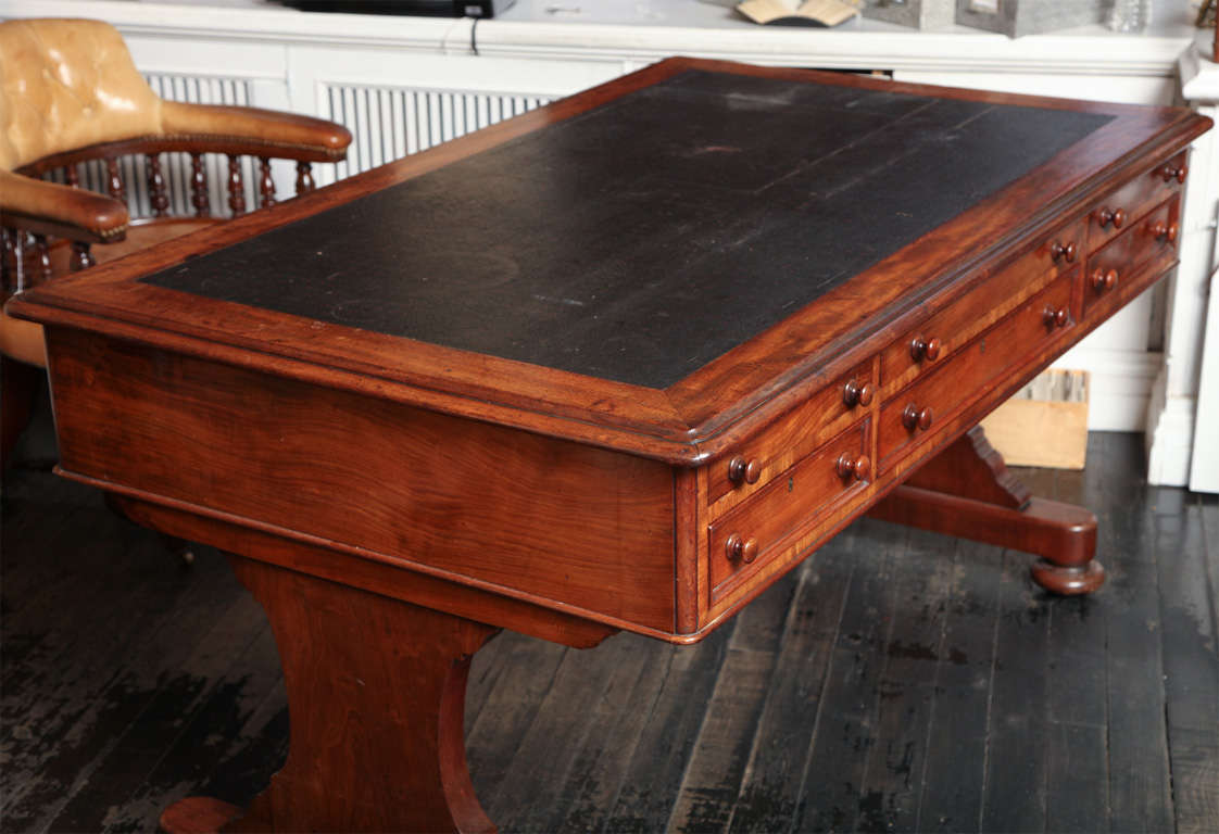 Mahogany 19th Century English Partners Desk For Sale