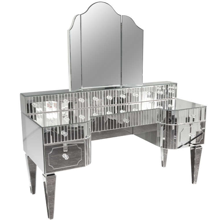 Custom Mirrored Vanity with Tryptic Mirror and Baguette Detailing