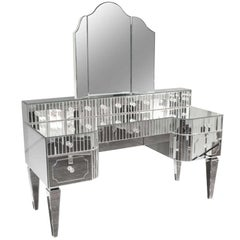 Custom Mirrored Vanity with Triptych Mirror and Baguette Details