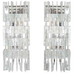 Pair of Custom Opalescent C Link Glass Sconces