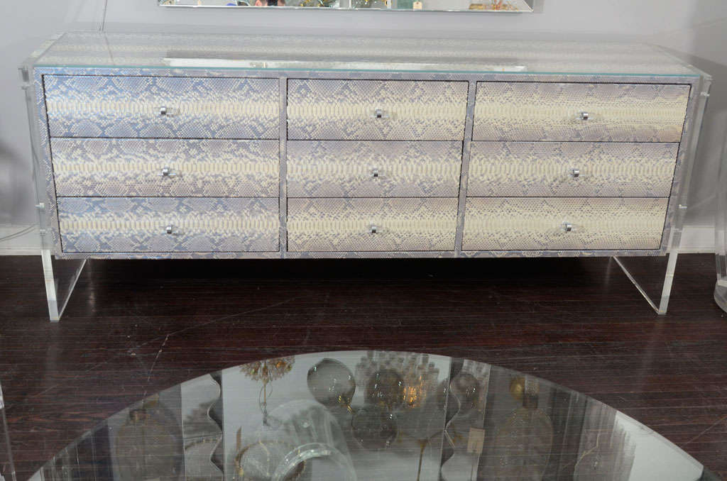 American Custom Python Nine-Drawer Dresser with Lucite Side Panels For Sale