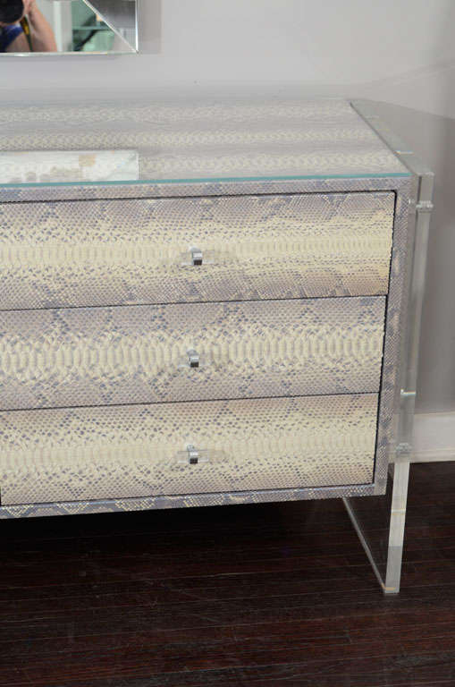 Custom Python Nine-Drawer Dresser with Lucite Side Panels In Excellent Condition For Sale In New York, NY