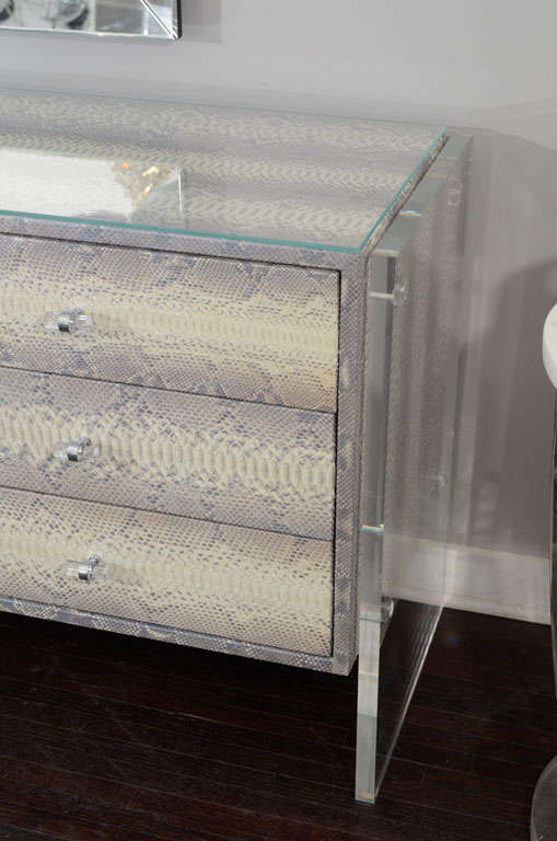 Custom Python Nine-Drawer Dresser with Lucite Side Panels For Sale 1