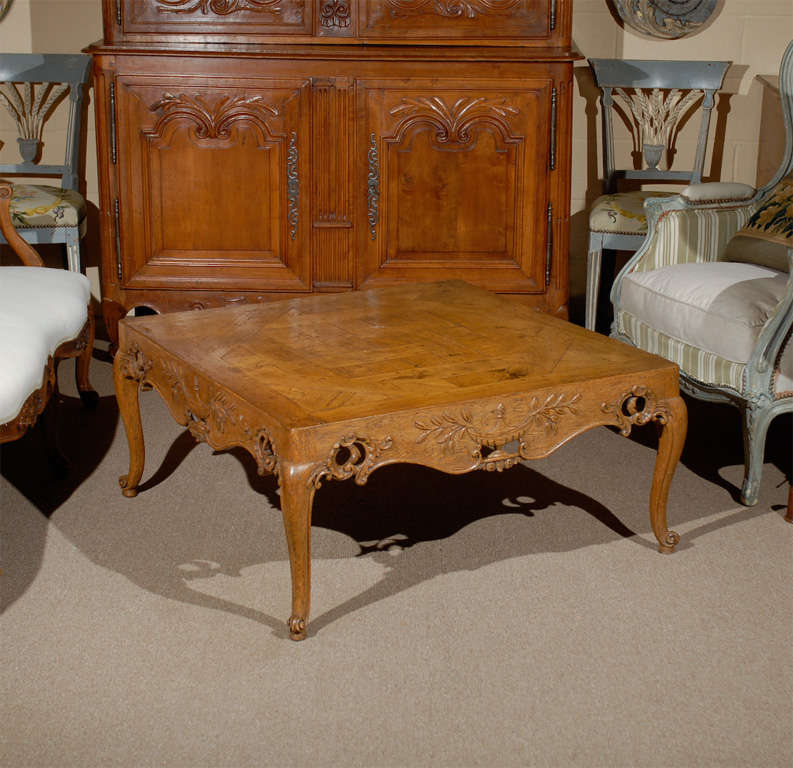 Square French Style Coffee Table With Parquetry Top And Pierced Apron At 1stdibs