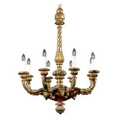 Italian Giltwood Chandelier with Eight Lights and Twisted Arm Detail