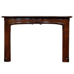 18th Century French Oak Mantle with Shell Carving