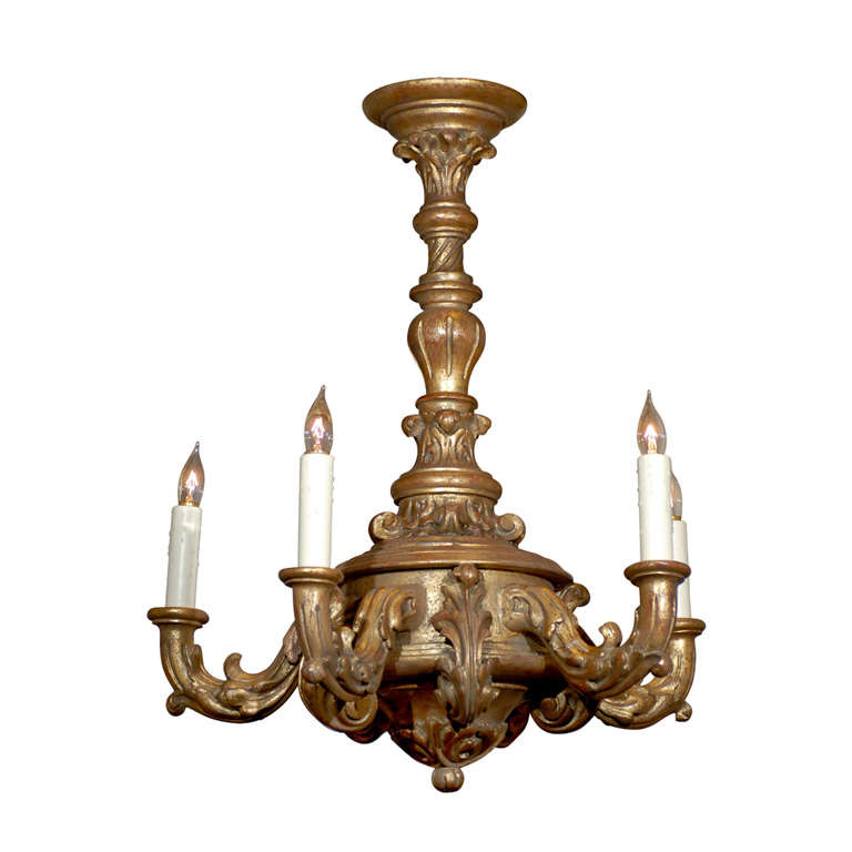 Italian Rococo Gilt Wood Chandelier With Four Lights