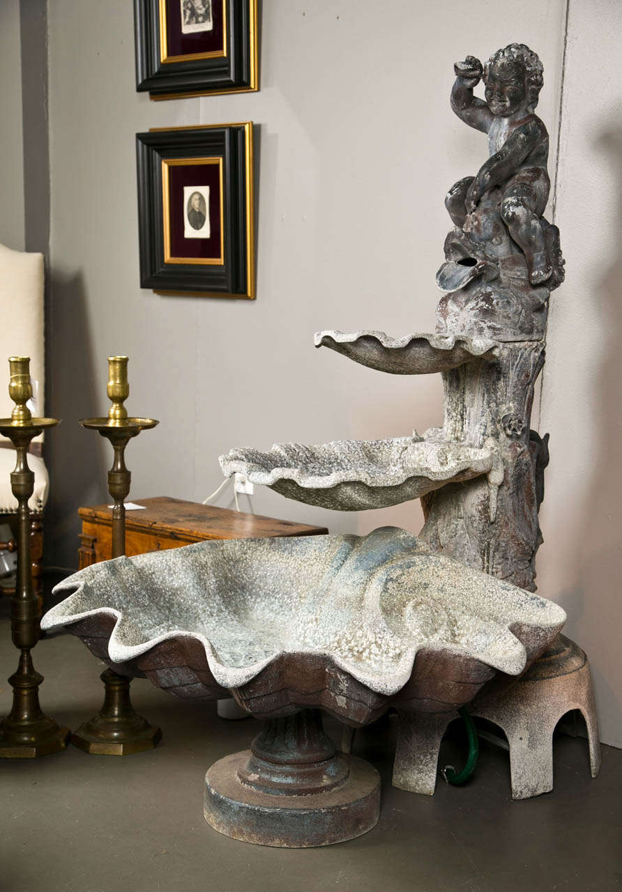 Lead and cast metal fountain with beautiful detail from early 19th century. This piece is possibly Italian.
