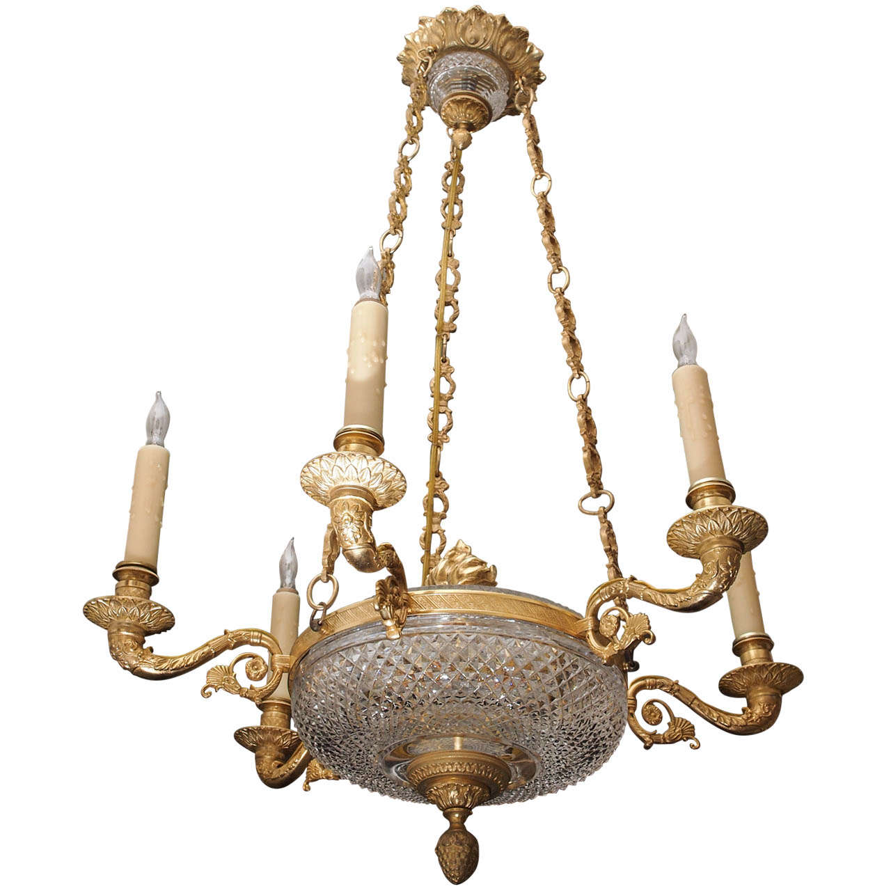 French Baccarat And Gilt Bronze Chandelier With 6 Lights