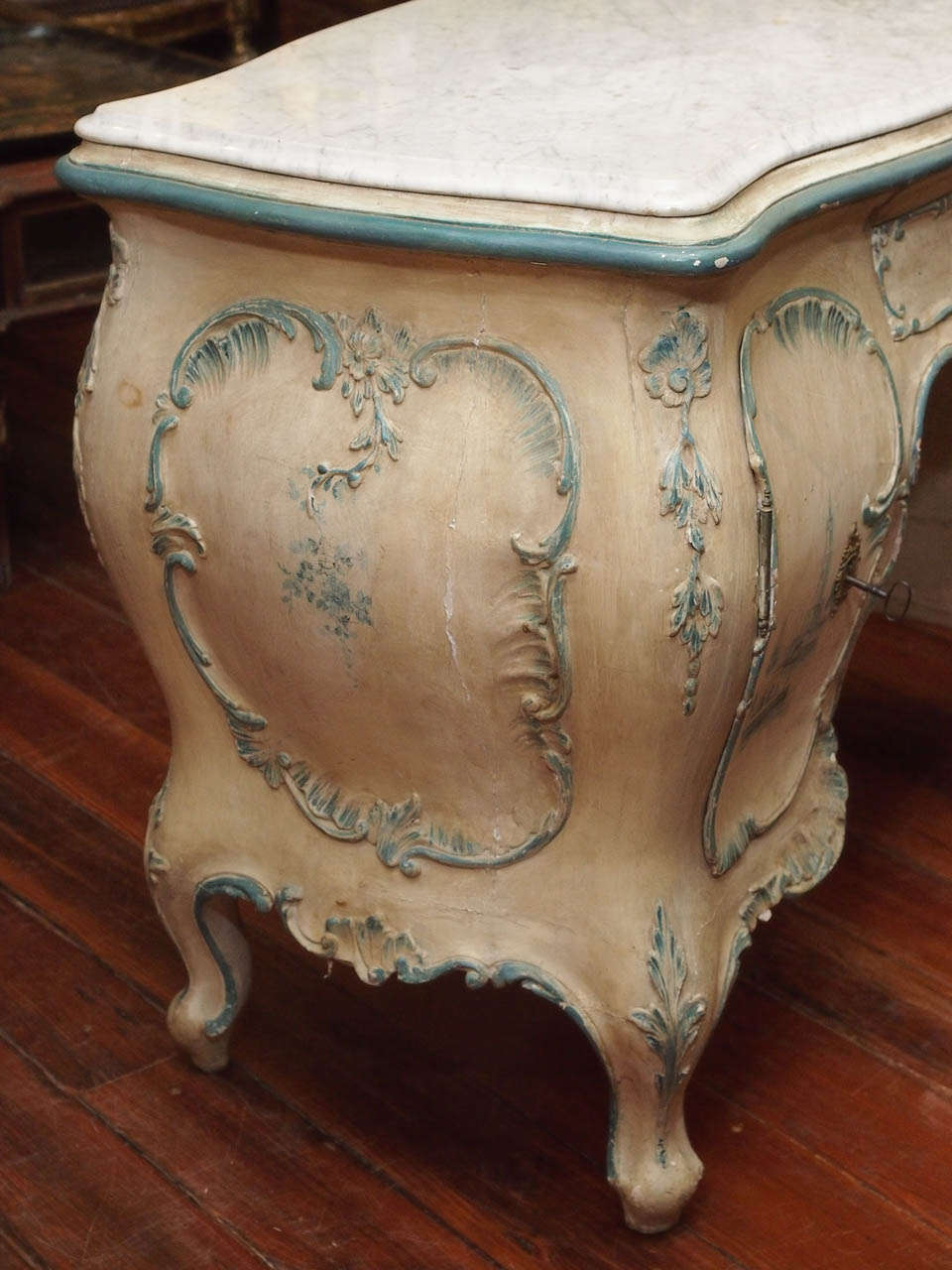 Venetian Ladies Writing Desk Bombe Form With Marble Top At