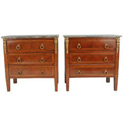 Pair of Louis XVI Style Commodes with Marble Top