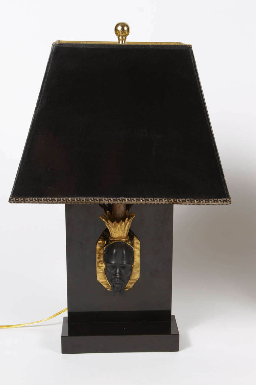 Hollywood Regency Pair of Maison Jansen Nubian Lamps For Sale