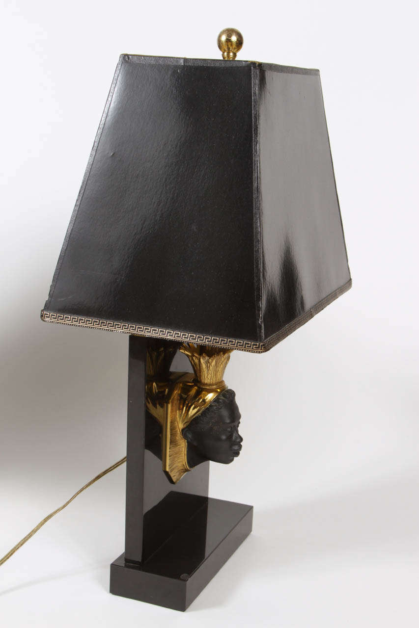 Leather Pair of Maison Jansen Nubian Lamps For Sale