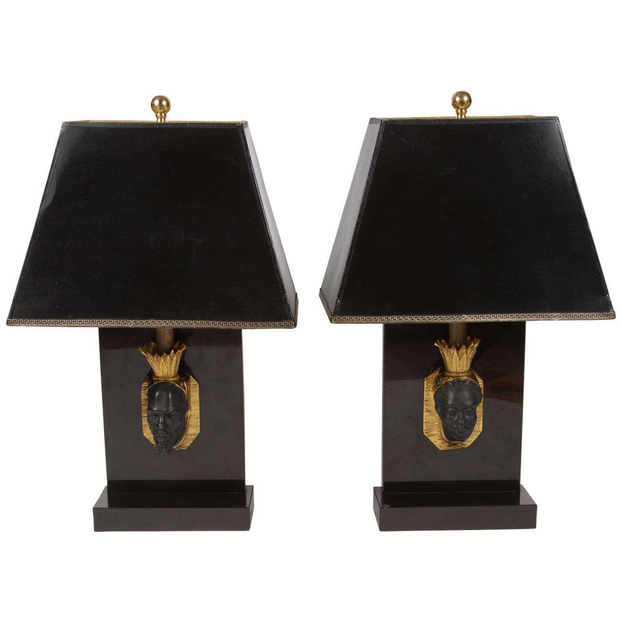 Pair of Maison Jansen Nubian Lamps