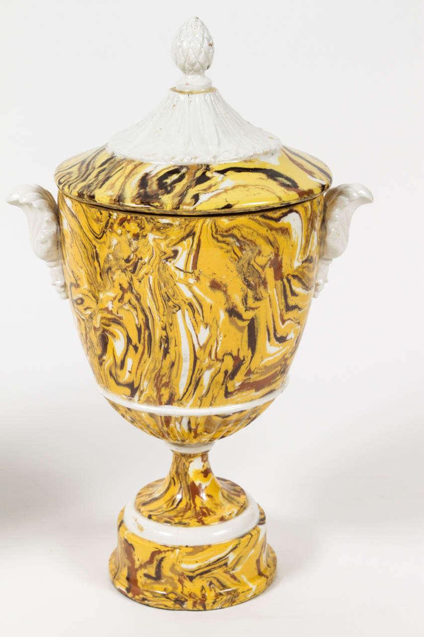 Italian Pair of Lidded Terre Melee Urns For Sale