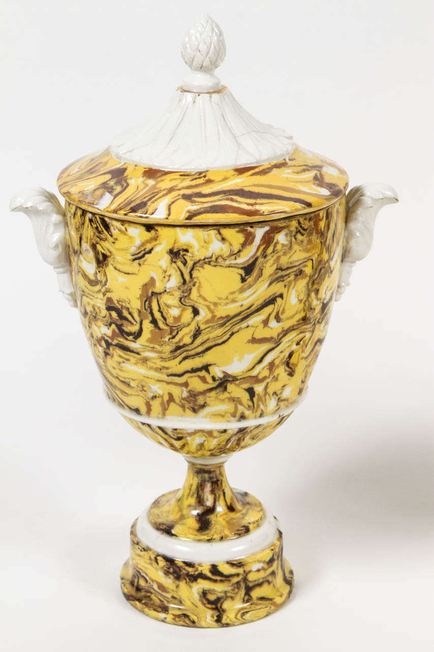 Pair of Lidded Terre Melee Urns In Excellent Condition For Sale In Los Angeles, CA