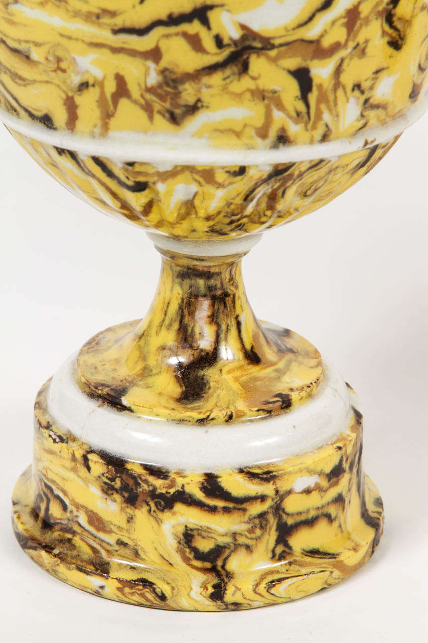 19th Century Pair of Lidded Terre Melee Urns For Sale
