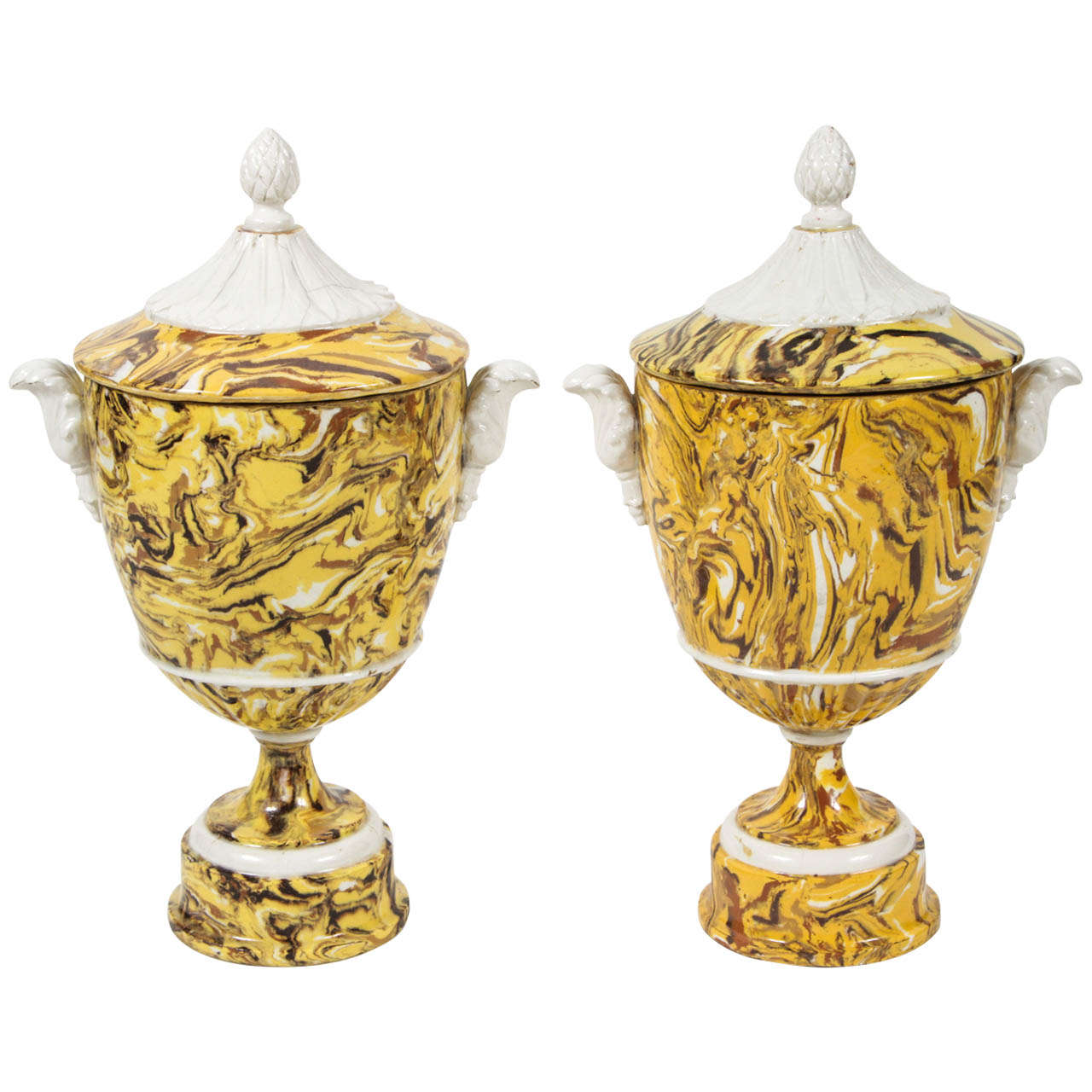 Pair of Lidded Terre Melee Urns For Sale