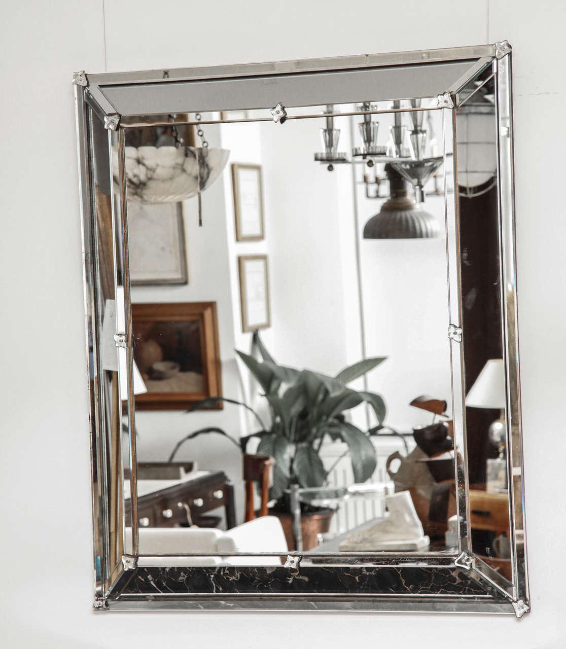 Venetian style rectangular mirror with raised inner frame.