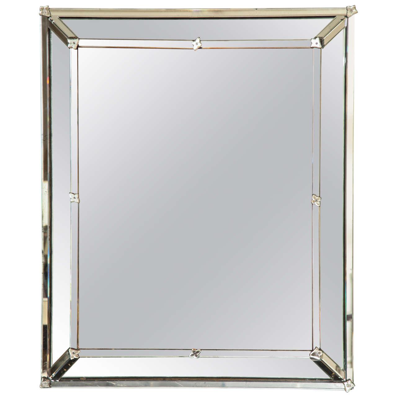 Venetian Style Rectangular Mirror For Sale