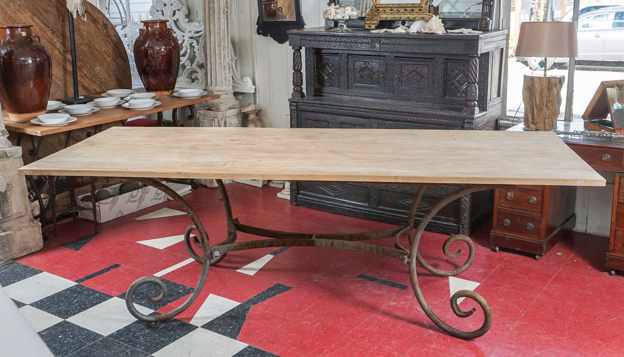 Indoor Or Outdoor French Wrought Iron Table Base Teak Top