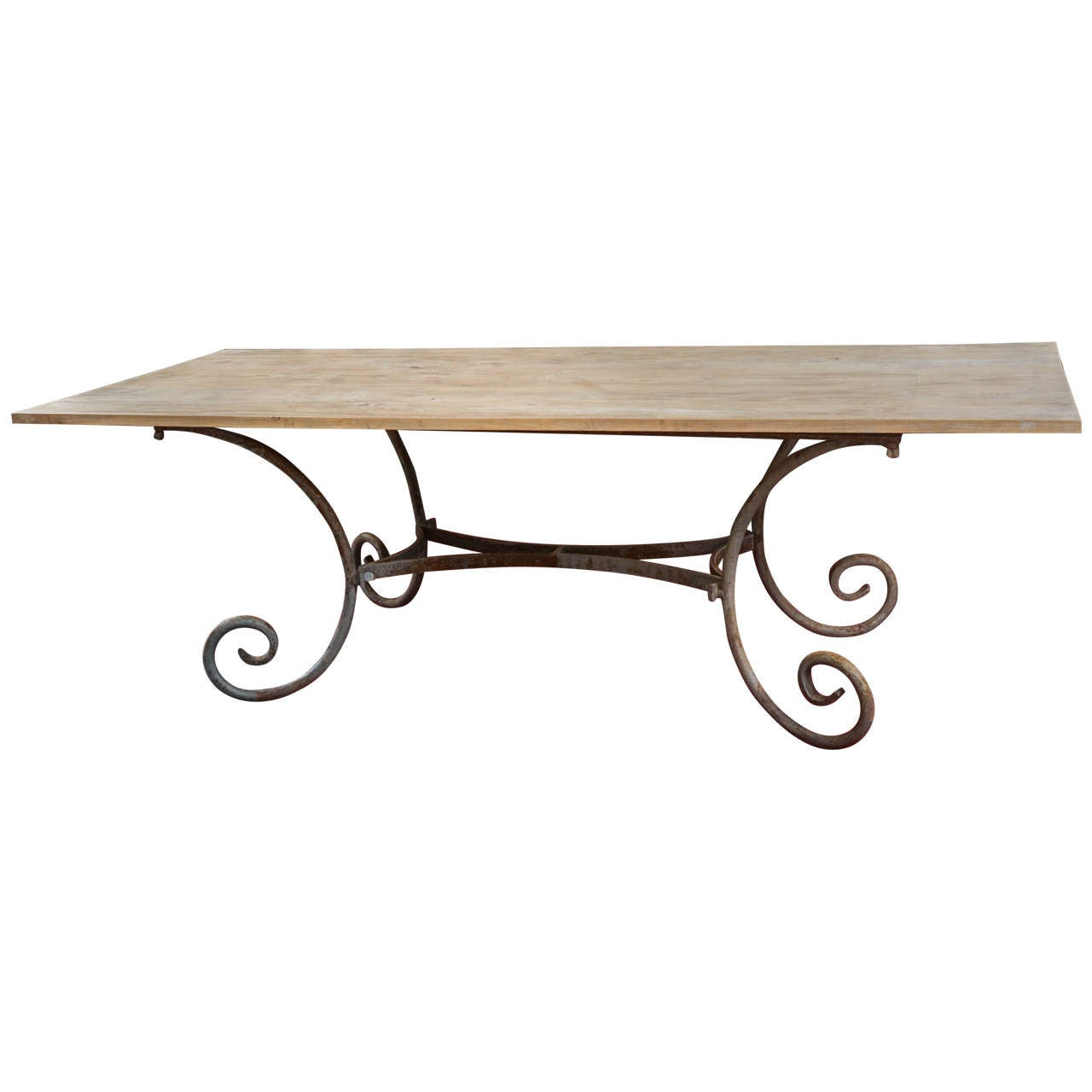 Indoor or outdoor french wrought iron table base teak top for Wrought iron side table base