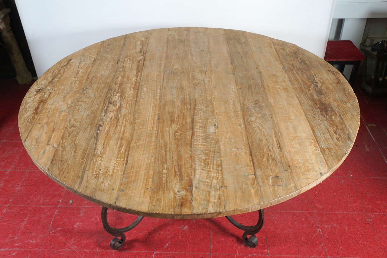 Baroque Rustic Outdoor or Indoor Round Teak Wood and Metal Base Dining Table For Sale