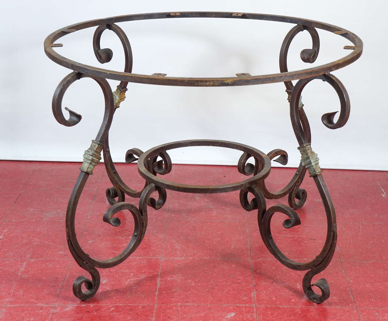 Forged Rustic Outdoor or Indoor Round Teak Wood and Metal Base Dining Table For Sale