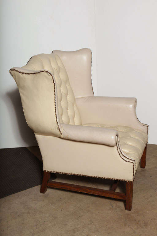 Off white leather wing back chair at 1stdibs for Off white leather chair