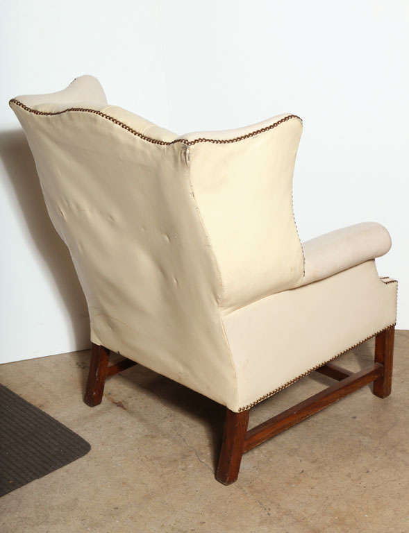 f White Leather Wing Back Chair at 1stdibs