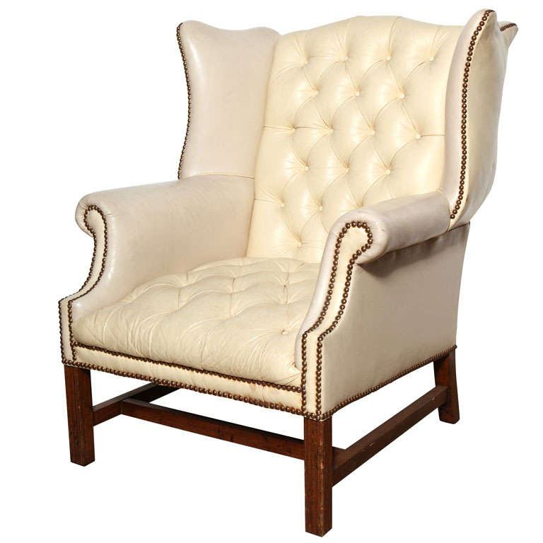 Off White Leather Wing Back Chair At 1stdibs