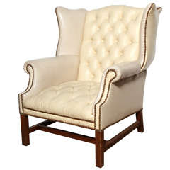 Off White Leather Wing Back Chair