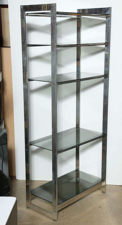 Early 1970 39 s solid aluminum etagere with five lightly smoked glass shelve - Etagere aluminium design ...